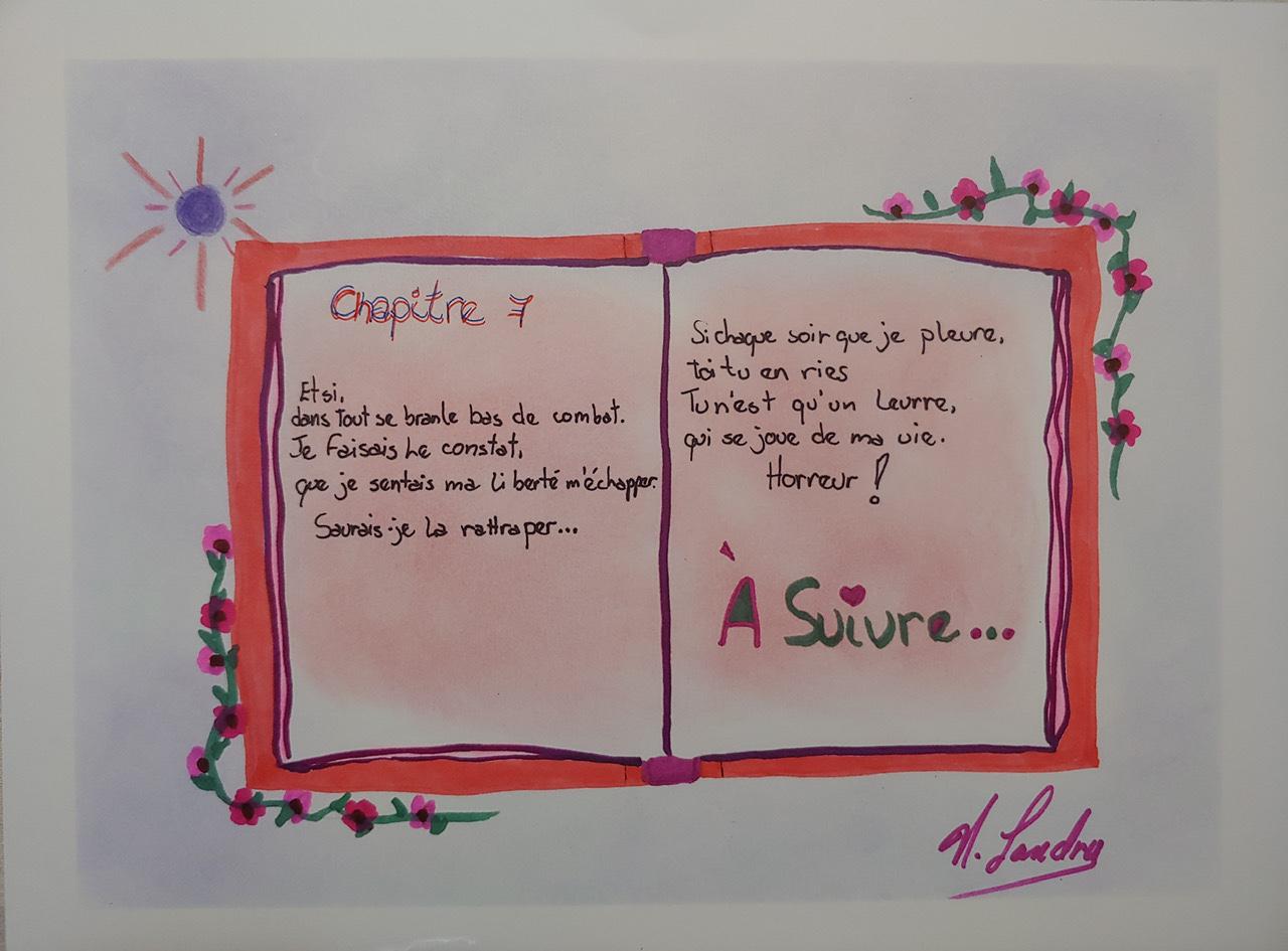 """<span style=""""color: #ff0000;""""><a style=""""color: #ff0000;"""" href=""""mailto:nathalielandry7@gmail.com?subject=Défi 15 dessins 15 semaines -   L'art est sans fin""""> Contacter l'artiste</a></span> Nathalie Landry -   L'art est sans fin - 40$  (transaction directement avec l'artiste) - feutre et crayons de couleurs sur papier tech.mixtes, 9 x 12 po, encadré"""