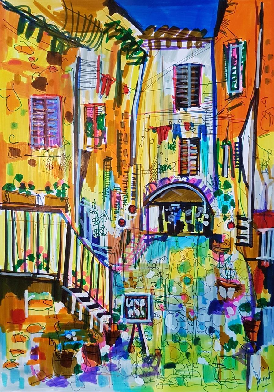 """<span style=""""color: #ff0000;""""><a style=""""color: #ff0000;"""" href=""""mailto:muriel.cayet@gmail.com?subject=Défi 15 dessins 15 semaines -  Rue de l'été""""> Contacter l'artiste</a></span> Muriel Cayet - Rue de l'été - 50€  (transaction directement avec l'artiste) - feutre sur papier photo glacé A4, présenté plastifié"""