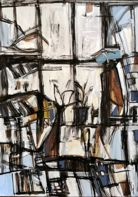 """<span style=""""color: #ff0000;""""><a style=""""color: #ff0000;"""" href=""""mailto:muriel.cayet@gmail.com?subject=Défi 15 dessins 15 semaines -  Fenêtre sur ville""""> Contacter l'artiste</a></span> Muriel Cayet -  Fenêtre sur ville - 50€  (transaction directement avec l'artiste) - feutre sur papier photo glacé A4, présenté plastifié"""